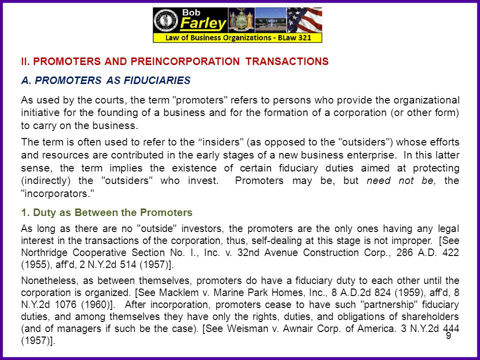 II. PROMOTERS AND PREINCORPORATION TRANSACTIONS