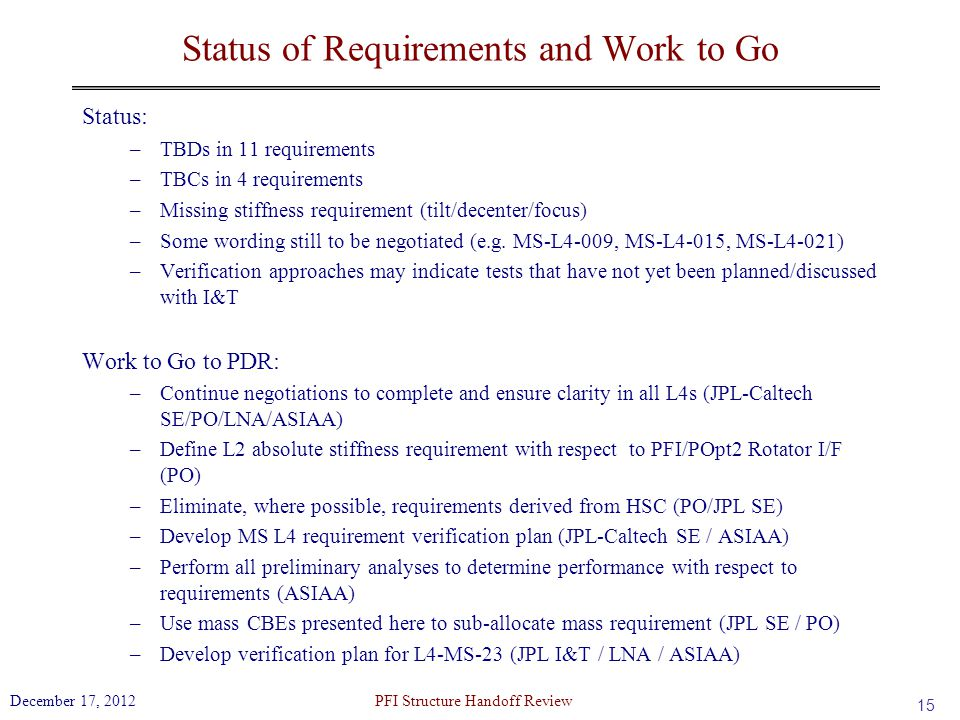 Status of Requirements and Work to Go