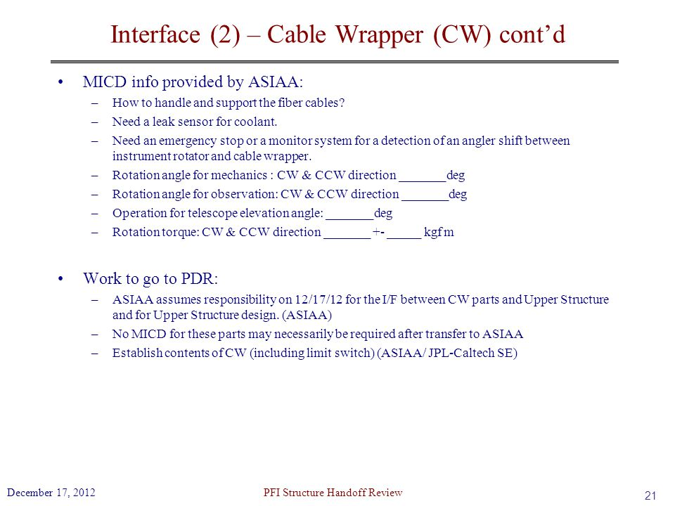 Interface (2) – Cable Wrapper (CW) cont'd