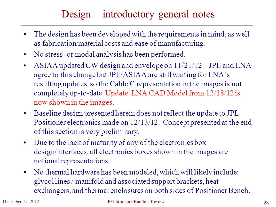 Design – introductory general notes