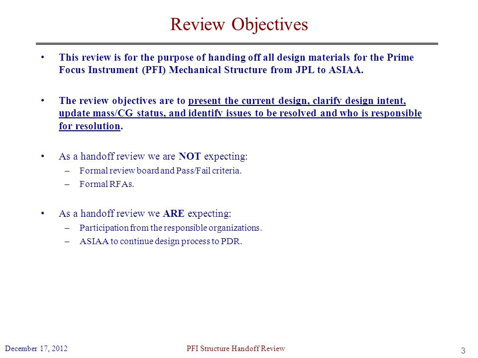 PFI Structure Handoff Review