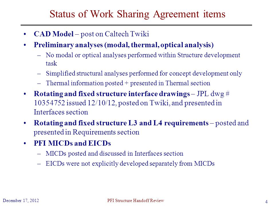 Status of Work Sharing Agreement items