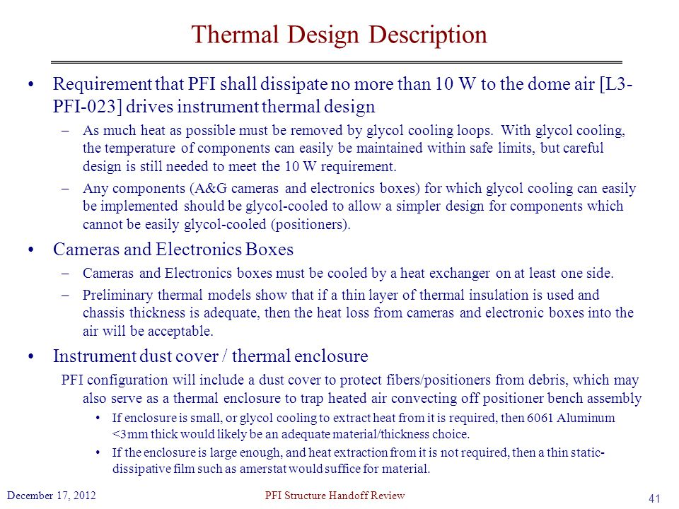 Thermal Design Description