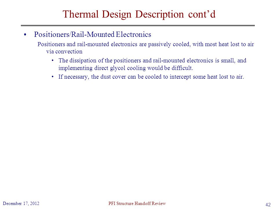 Thermal Design Description cont'd