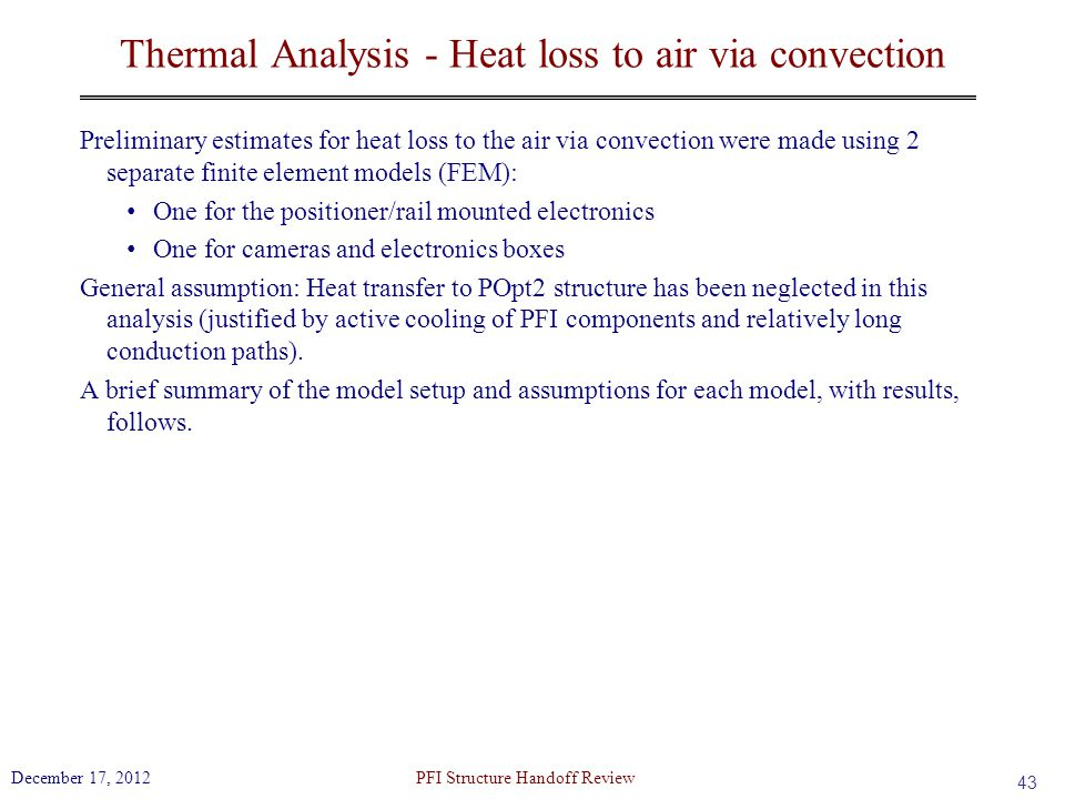 Thermal Analysis - Heat loss to air via convection