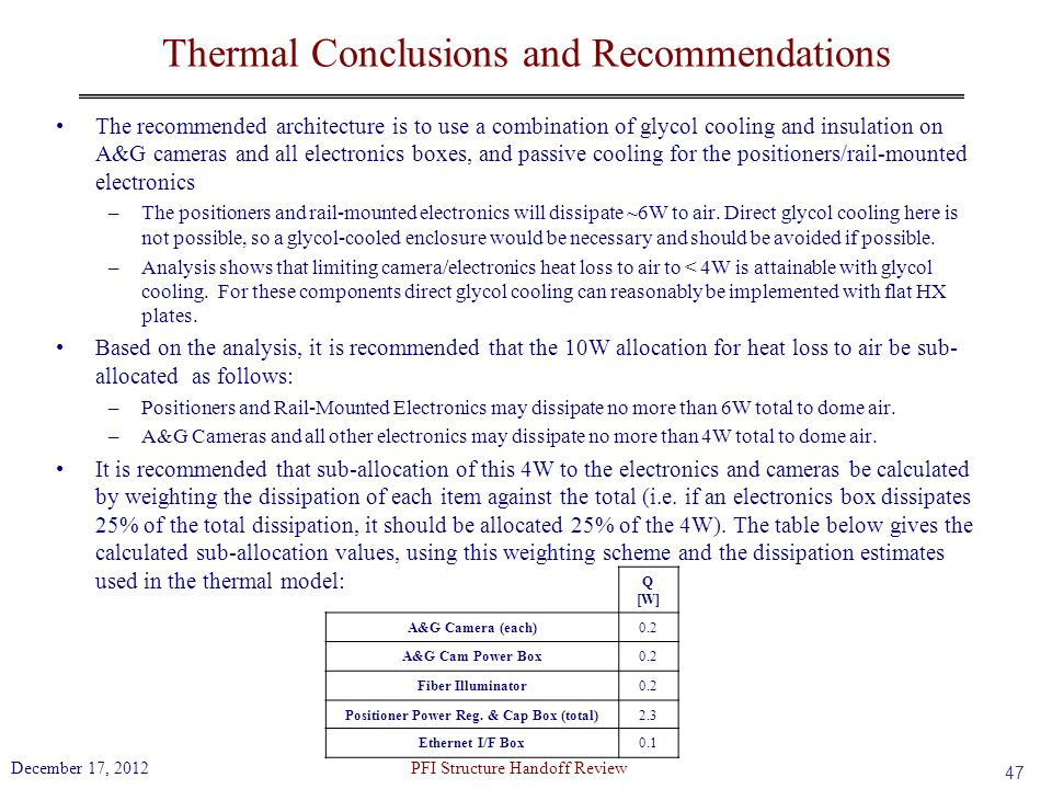 Thermal Conclusions and Recommendations