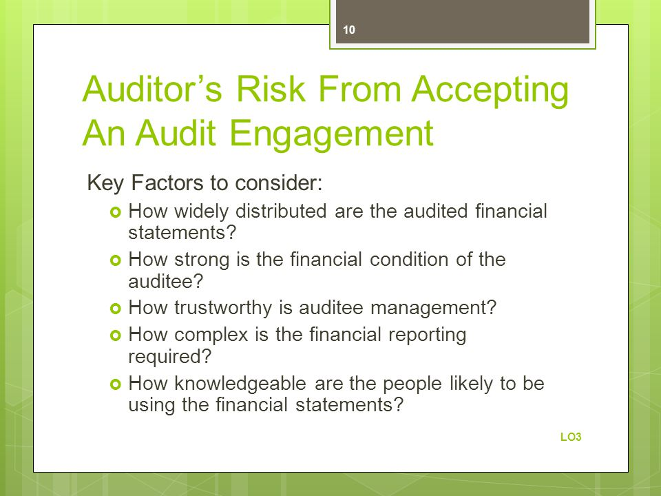 Auditor's Risk From Accepting An Audit Engagement