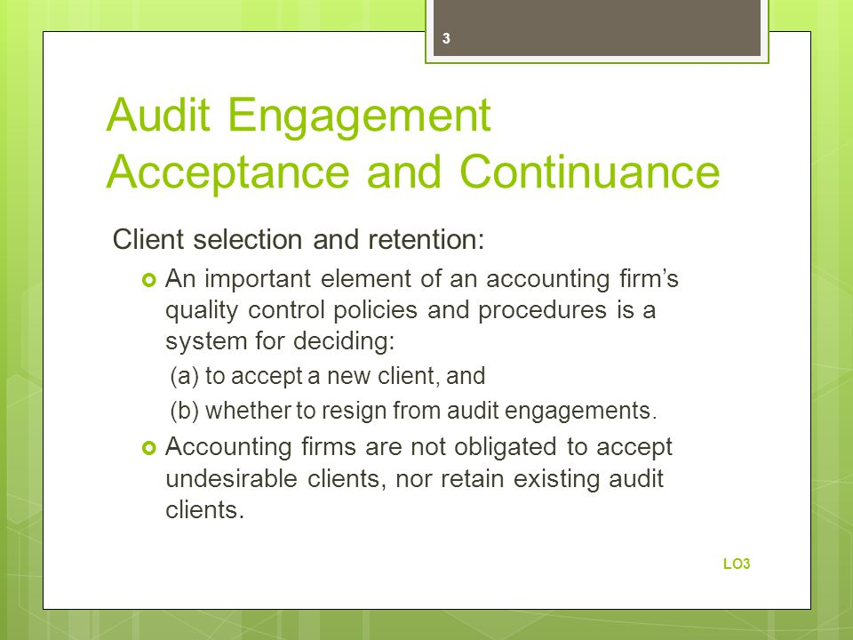 Audit Engagement Acceptance and Continuance