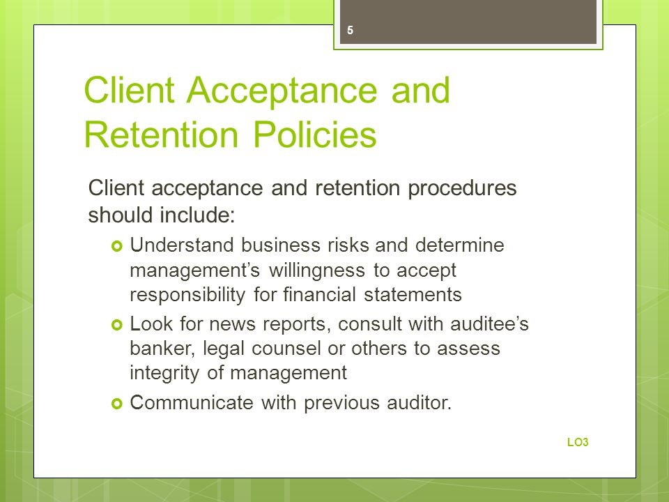 Client Acceptance and Retention Policies