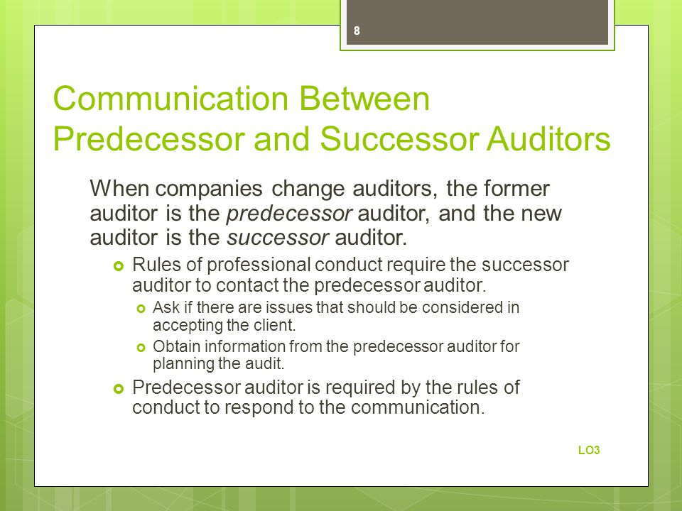 Communication Between Predecessor and Successor Auditors