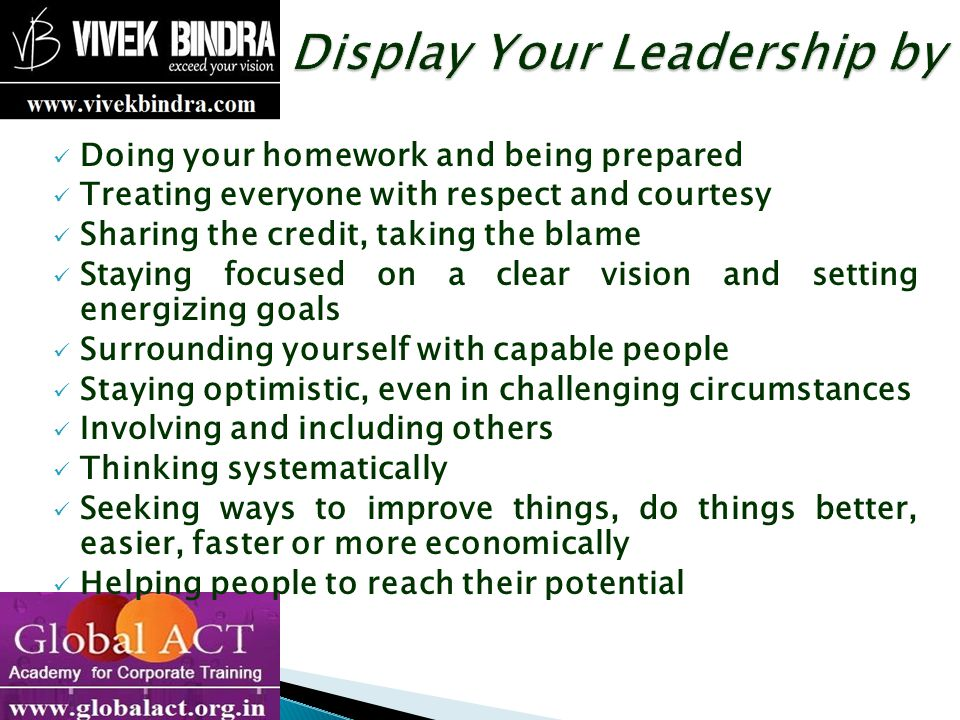 Display Your Leadership by