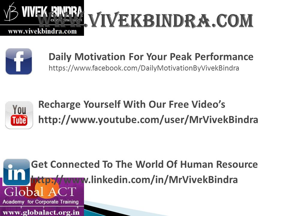 www.vivekbindra.com Recharge Yourself With Our Free Video's