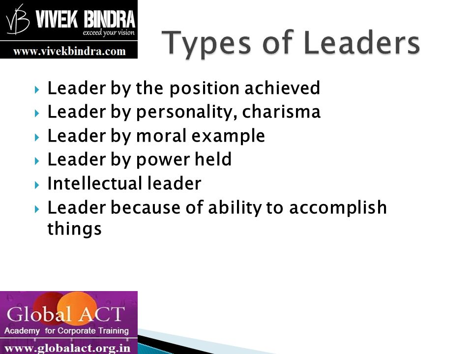 Types of Leaders Leader by the position achieved