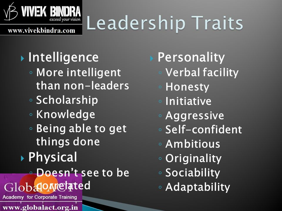 Leadership Traits Intelligence Physical Personality