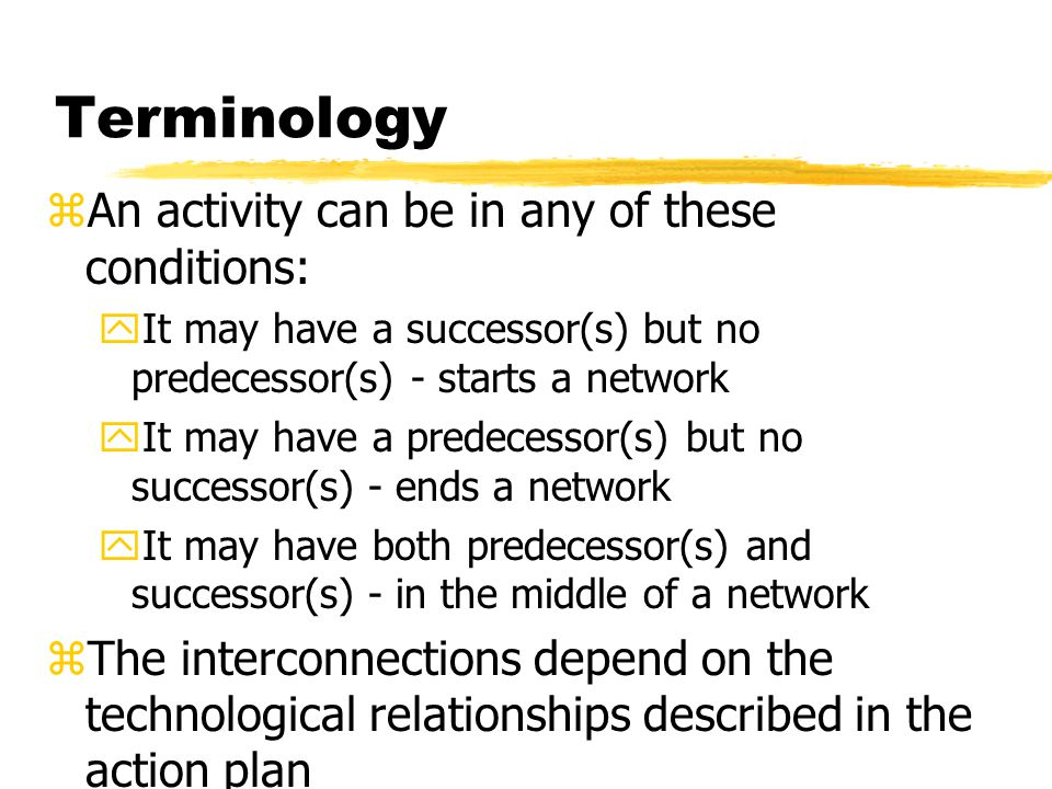 Terminology An activity can be in any of these conditions:
