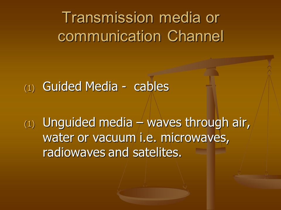 Transmission media or communication Channel