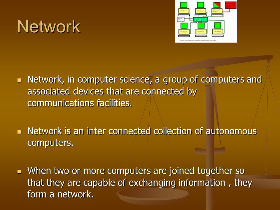 Network Network, in computer science, a group of computers and associated devices that are connected by communications facilities.