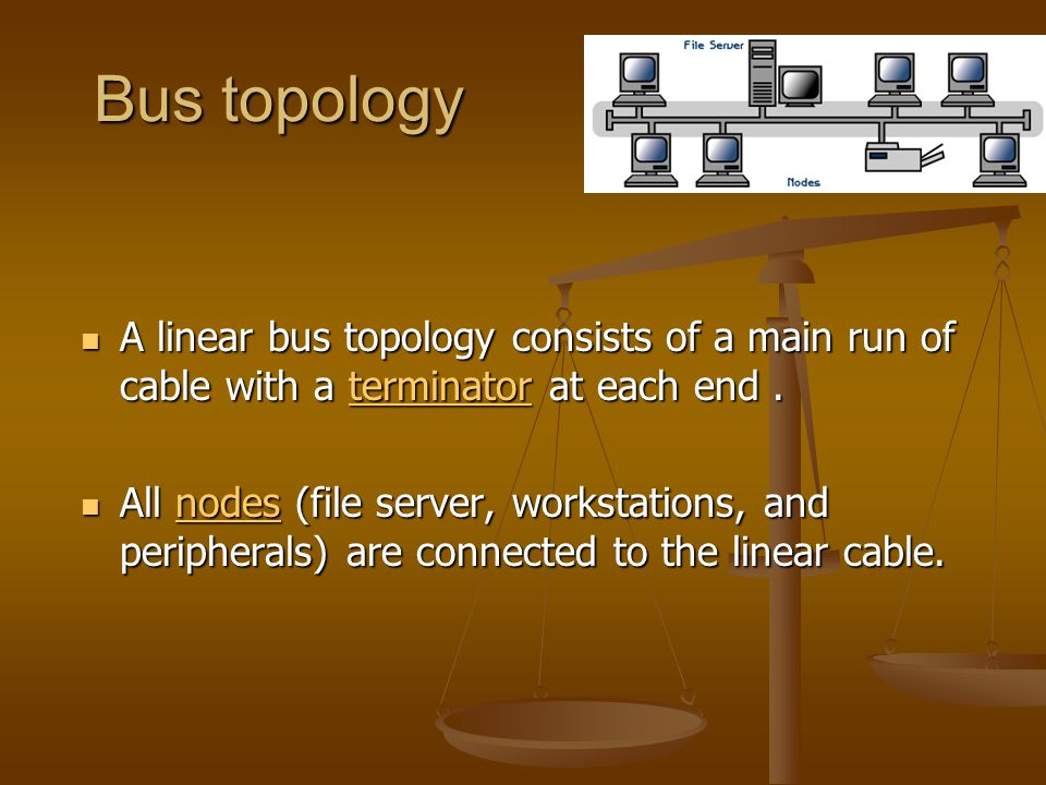 Bus topology A linear bus topology consists of a main run of cable with a terminator at each end .