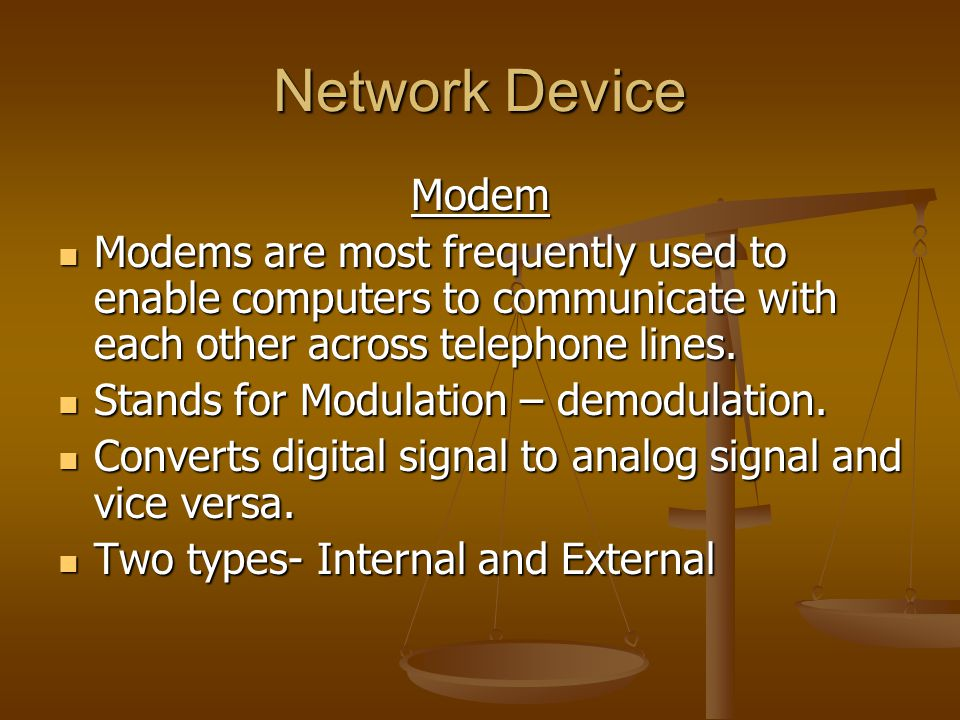 Network Device Modem. Modems are most frequently used to enable computers to communicate with each other across telephone lines.