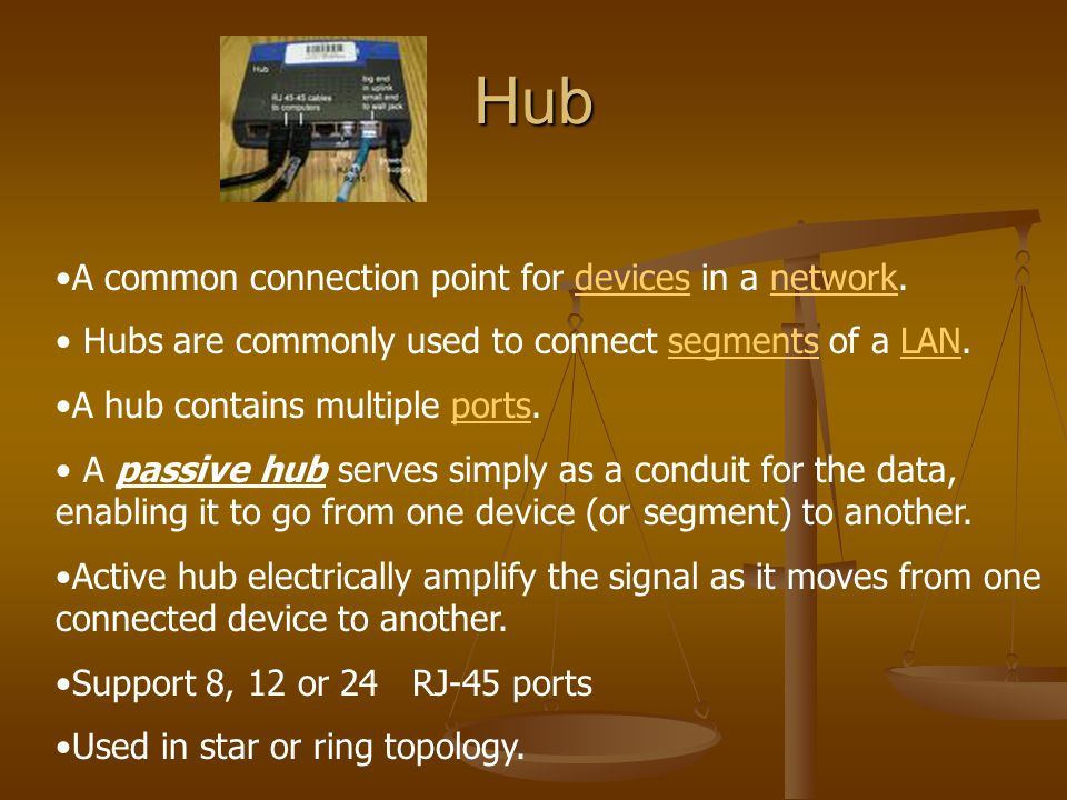 Hub A common connection point for devices in a network.