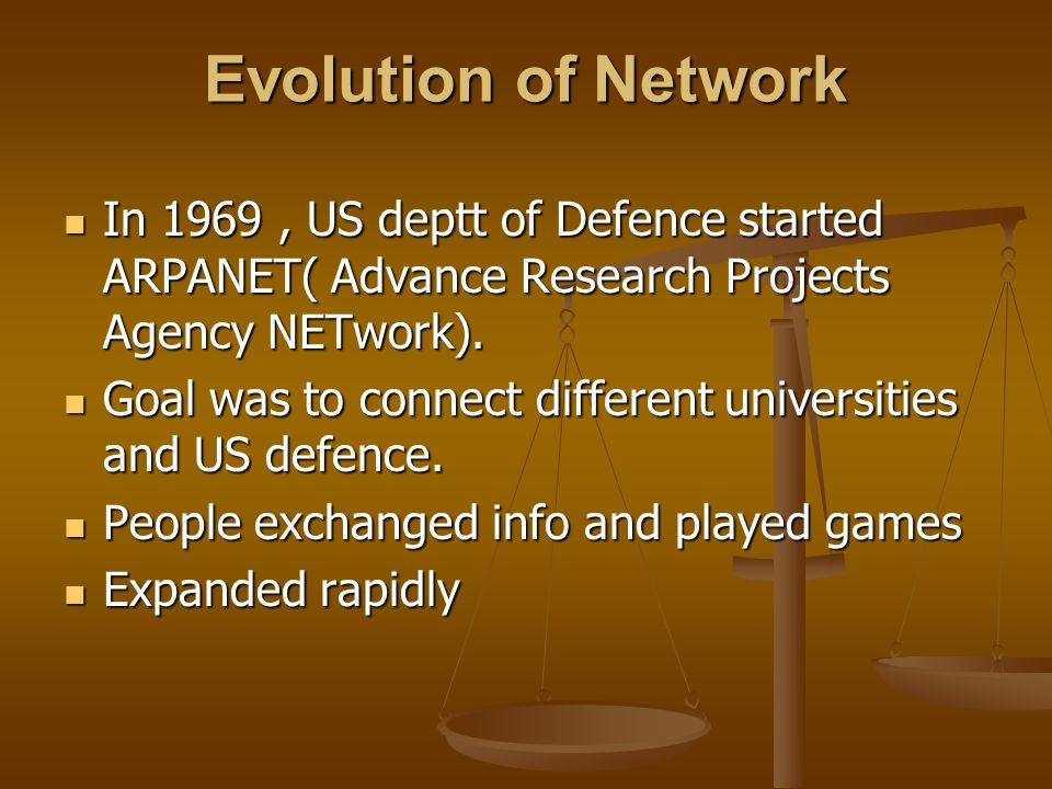 Evolution of Network In 1969 , US deptt of Defence started ARPANET( Advance Research Projects Agency NETwork).