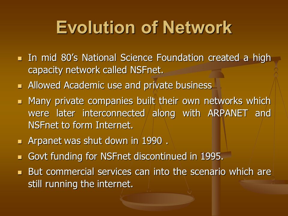 Evolution of Network In mid 80's National Science Foundation created a high capacity network called NSFnet.