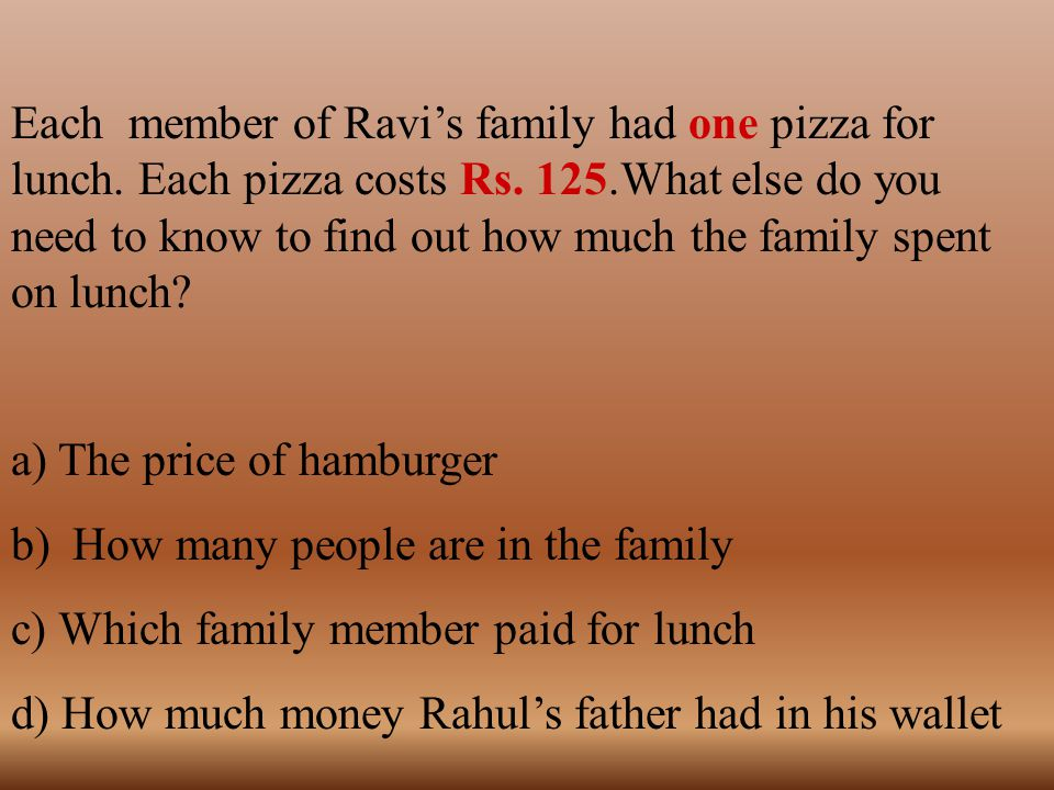 Each member of Ravi's family had one pizza for lunch