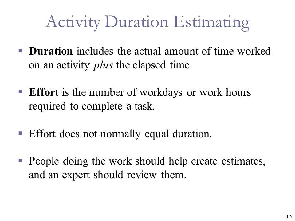 Activity Duration Estimating
