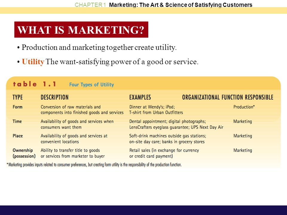 WHAT IS MARKETING • Production and marketing together create utility.
