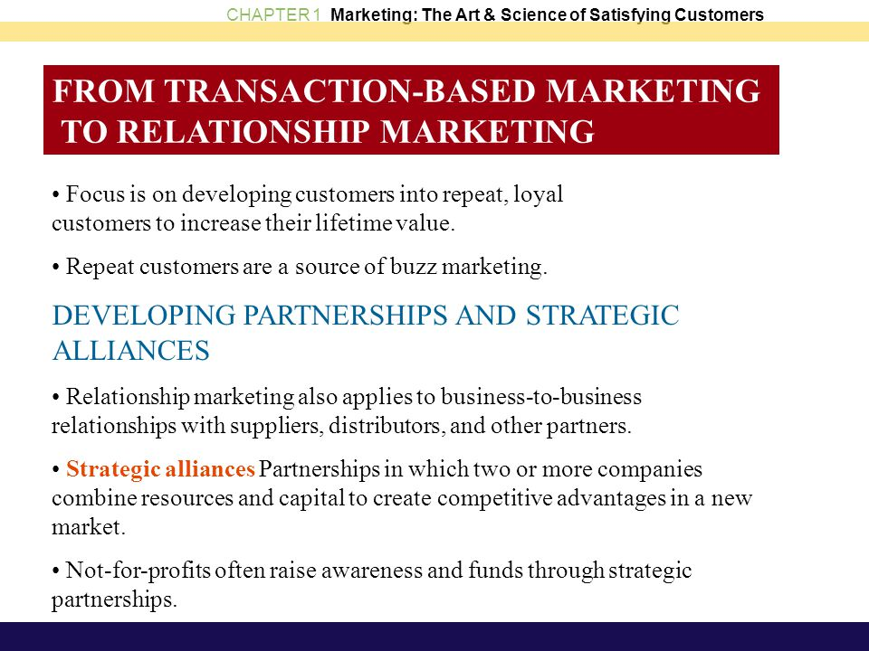 FROM TRANSACTION-BASED MARKETING TO RELATIONSHIP MARKETING