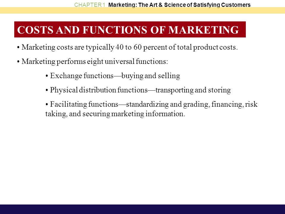 COSTS AND FUNCTIONS OF MARKETING
