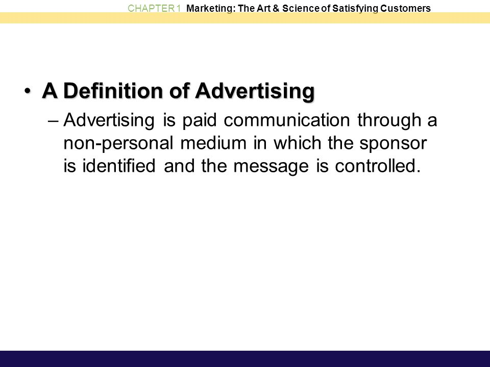 A Definition of Advertising