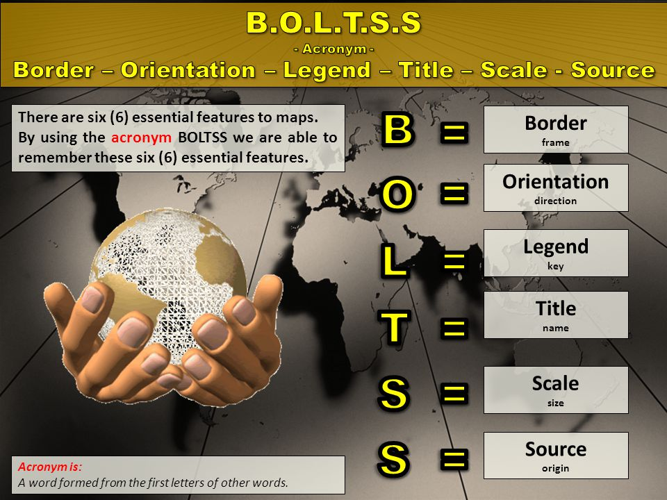Border – Orientation – Legend – Title – Scale - Source