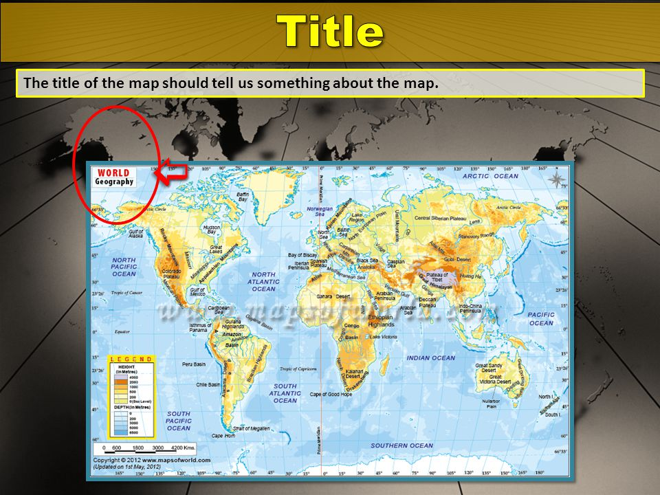 Title The title of the map should tell us something about the map. 