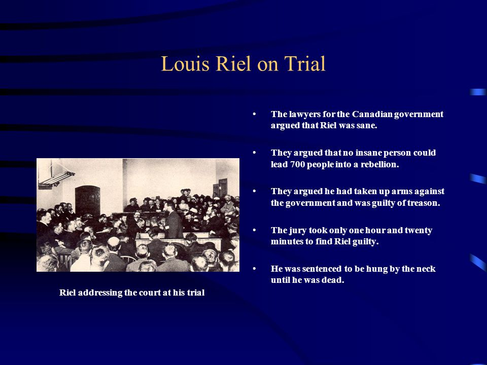 Riel addressing the court at his trial