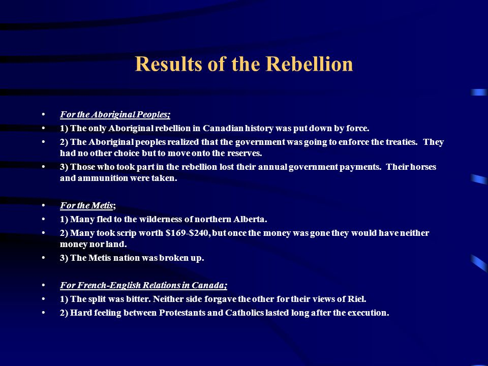Results of the Rebellion