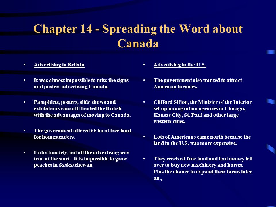 Chapter 14 - Spreading the Word about Canada