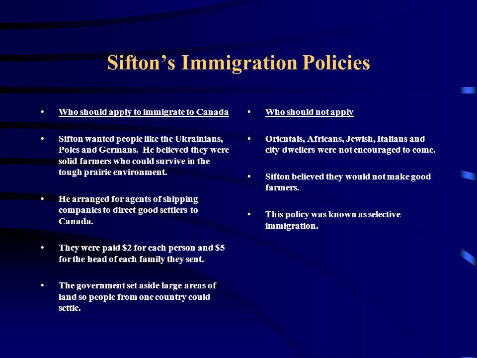 Sifton's Immigration Policies