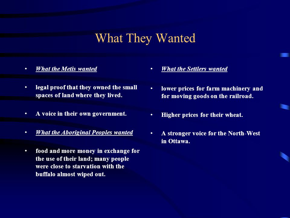 What They Wanted What the Metis wanted