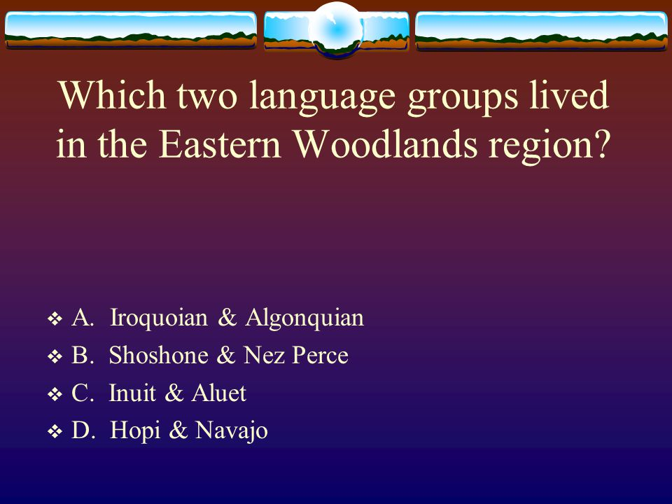 Which two language groups lived in the Eastern Woodlands region