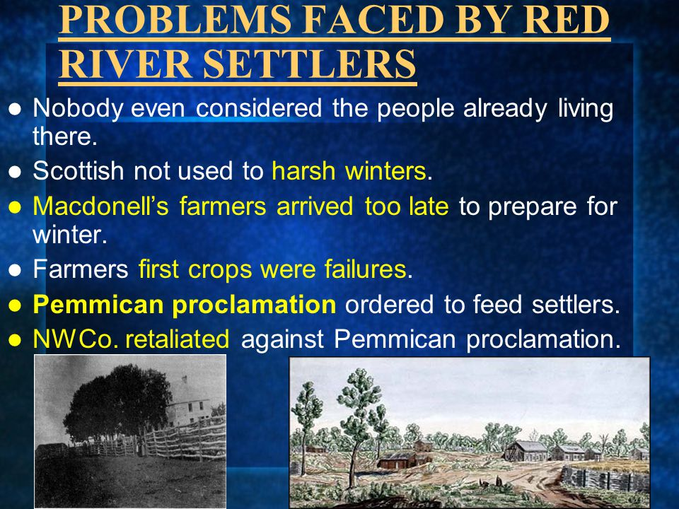 PROBLEMS FACED BY RED RIVER SETTLERS
