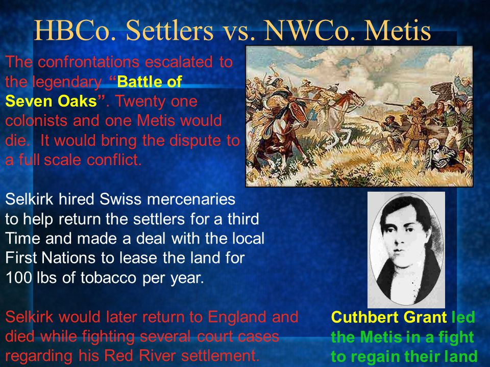 HBCo. Settlers vs. NWCo. Metis