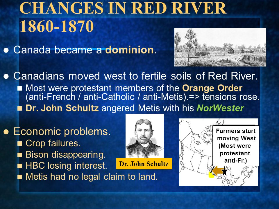CHANGES IN RED RIVER 1860-1870 Canada became a dominion.