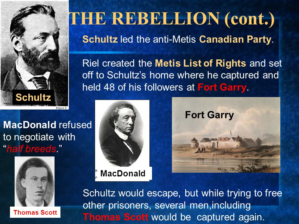 THE REBELLION (cont.) Schultz led the anti-Metis Canadian Party.