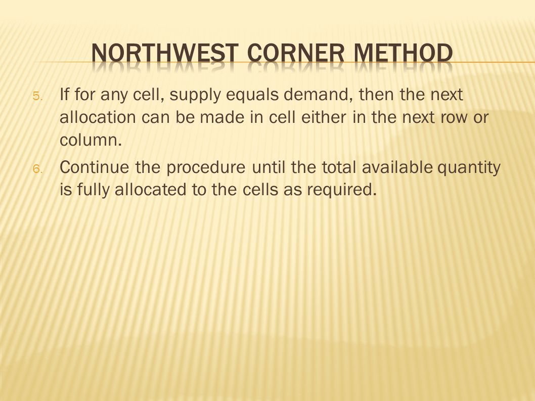 NorthWest corner method