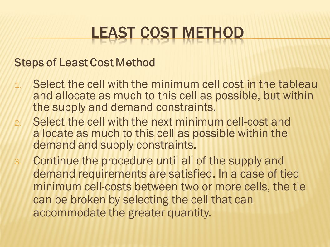 Least Cost Method Steps of Least Cost Method