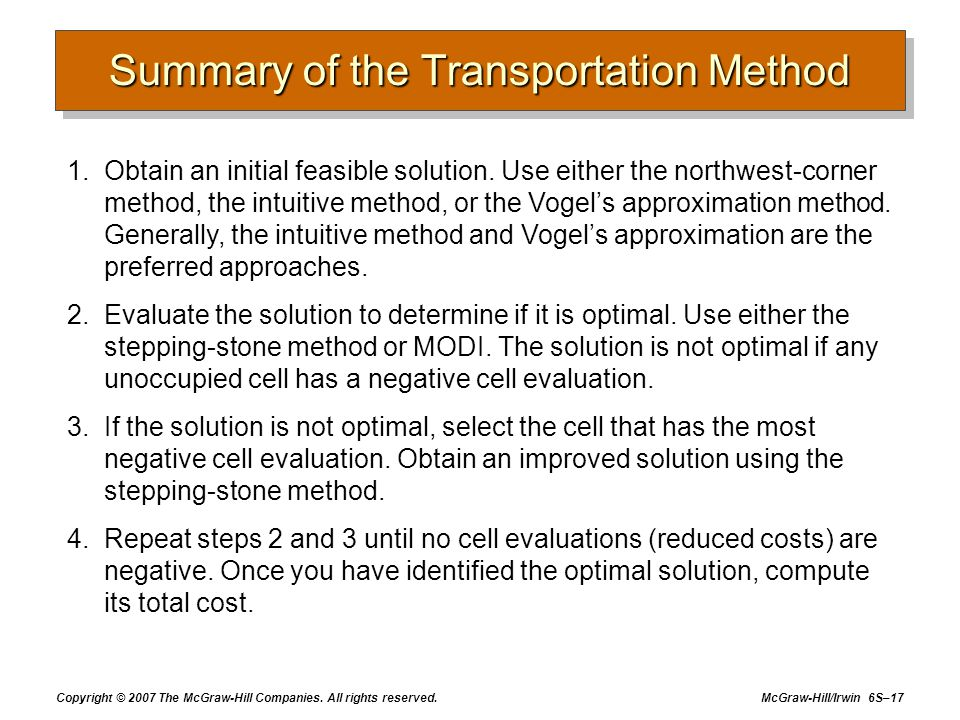 Summary of the Transportation Method