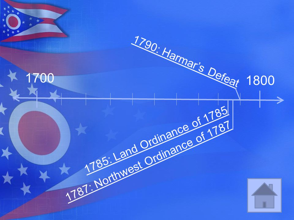 1700 1800 1790: Harmar's Defeat 1785: Land Ordinance of 1785