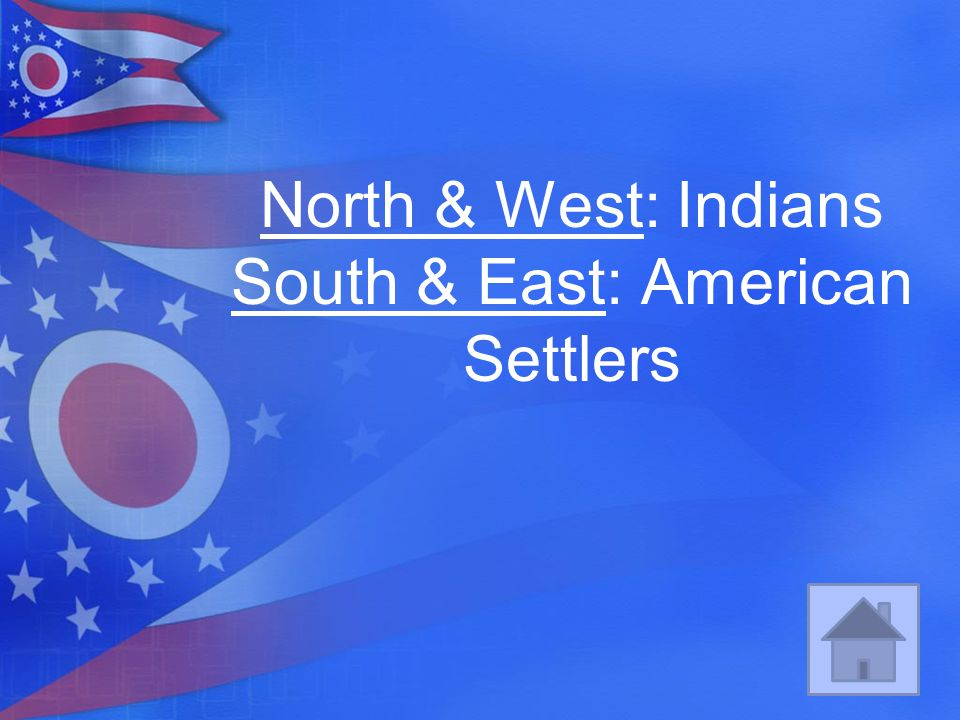 North & West: Indians South & East: American Settlers