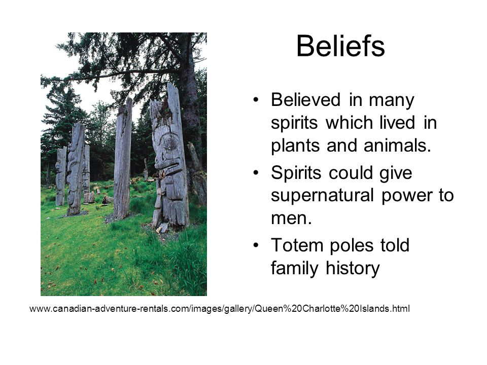 Beliefs Believed in many spirits which lived in plants and animals.
